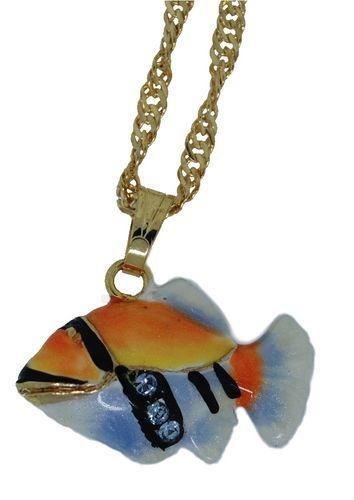Kubla Crafts Bejeweled Enamel KUB 3929HN Humu Humu Fish and Necklace