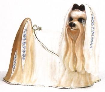 Kubla Crafts Bejeweled Enamel KUB 3934 Maltese Dog Box