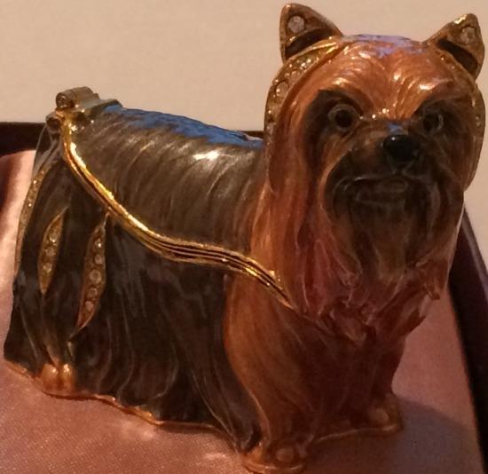 Kubla Crafts Bejeweled Enamel KUB 3935 Yorkie Yorkshire Terrier Box