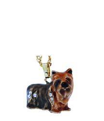 Kubla Crafts Bejeweled Enamel KUB 3935N Yorkie Yorkshire Terrier Dog Necklace