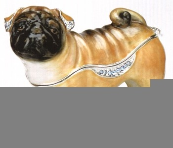 Kubla Crafts Bejeweled Enamel KUB 3937 Pug Dog Box