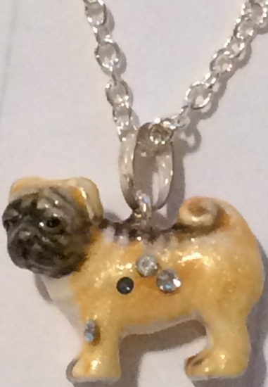 Kubla Crafts Bejeweled Enamel KUB 3937PN Pug Box and Necklace