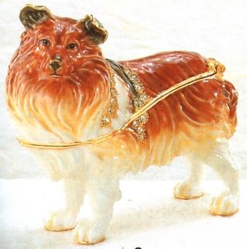 Kubla Crafts Bejeweled Enamel KUB 3950 Sheltie Dog Box