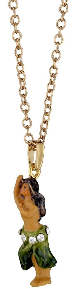 Kubla Crafts Bejeweled Enamel KUB 3956N Hula Girl Necklace