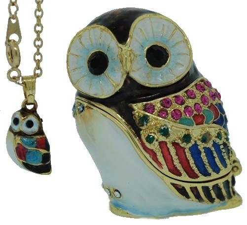 Kubla Crafts Bejeweled Enamel KUB 3958ON Owl Box with Necklace
