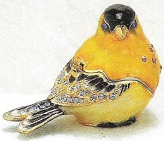 Kubla Crafts Bejeweled Enamel KUB 3977 Goldfinch Bird Box