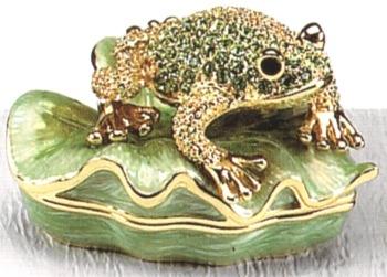 Kubla Crafts Bejeweled Enamel KUB 3995 Peridot Frog on Leaf