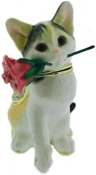 Kubla Crafts Bejeweled Enamel KUB 4-3090 Cat With Rose Box