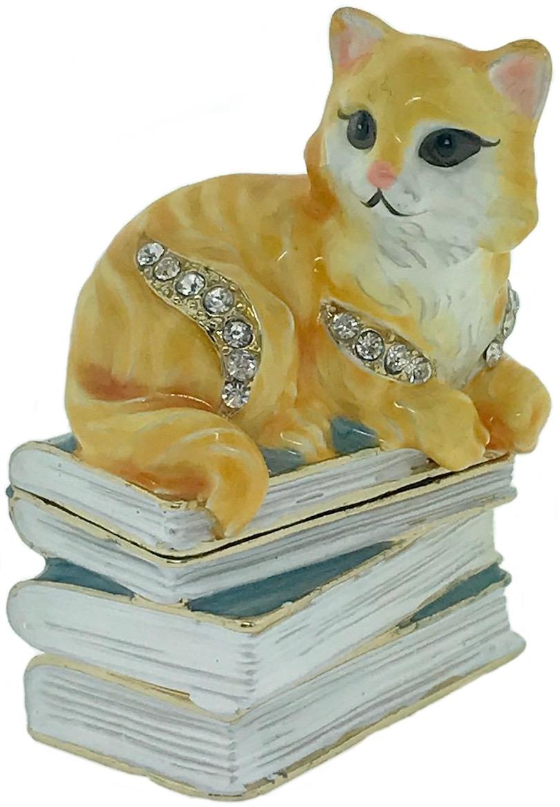 Kubla Crafts Bejeweled Enamel KUB 4-3128 Mini Cat on Book Box