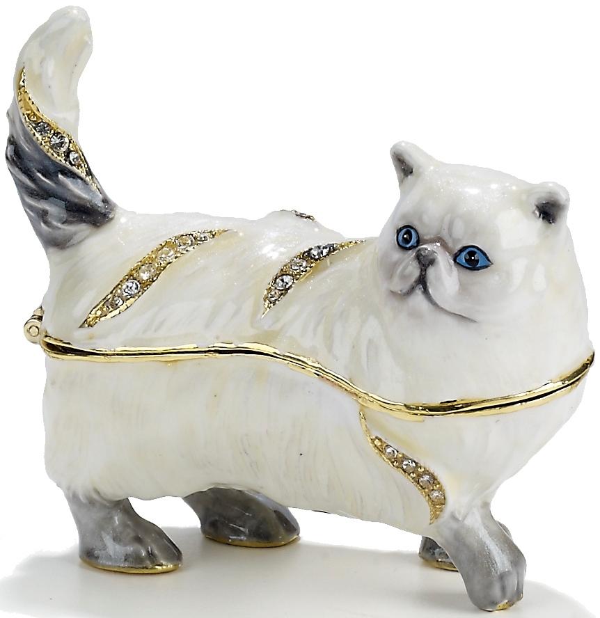 Kubla Crafts Bejeweled Enamel KUB 4-3358 Persian Cat Box