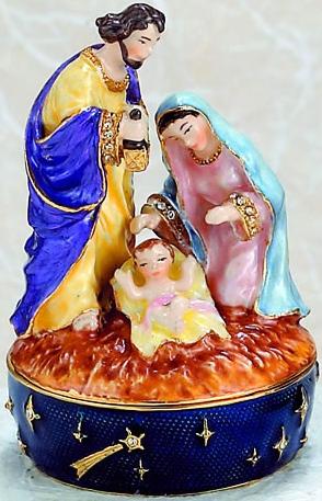 Kubla Crafts Bejeweled Enamel KUB 4-3744 Nativity Scene Box