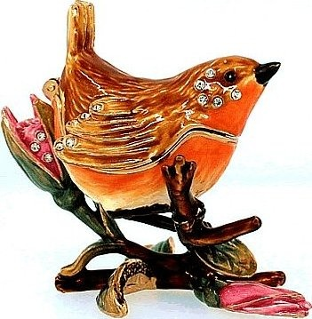 Kubla Crafts Bejeweled Enamel KUB 4-3788 Bird on Branch Box