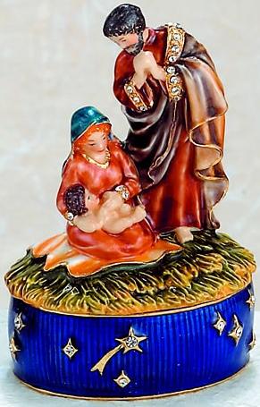 Kubla Crafts Bejeweled Enamel KUB 4-3846 Nativity Scene Box