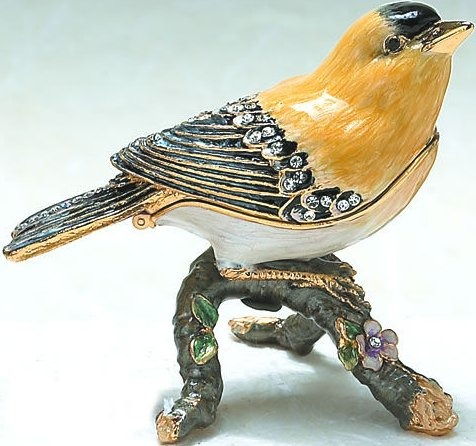 Kubla Crafts Bejeweled Enamel KUB 4-4018 Gold Finch Box