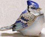 Kubla Crafts Bejeweled Enamel KUB 4-4164 Blue Jay Box