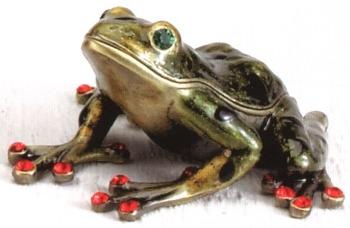 Kubla Crafts Bejeweled Enamel KUB 4004A Tree Frog Dark Green Box