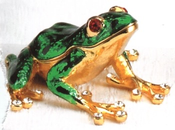 Kubla Crafts Bejeweled Enamel KUB 4004G Green Tree Frog Box