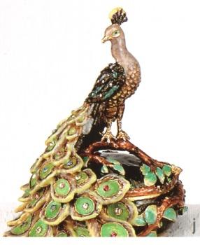 Kubla Crafts Bejeweled Enamel KUB 4007 Peacock Box
