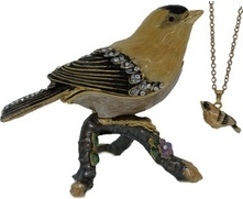 Kubla Crafts Bejeweled Enamel KUB 4018FN Gold Finch Box with Necklace