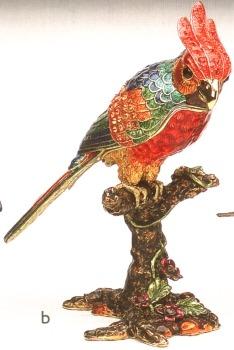 Kubla Crafts Bejeweled Enamel KUB 4025 Large Parrot Box