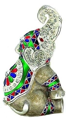 Kubla Crafts Bejeweled Enamel KUB 4033 Elephant Box