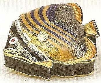 Kubla Crafts Bejeweled Enamel KUB 4045 Blue Amber Fish Box