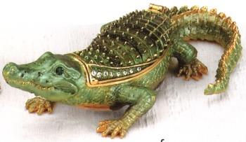 Kubla Crafts Bejeweled Enamel KUB 4054 Alligator Box