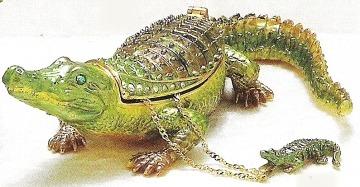 Kubla Crafts Bejeweled Enamel KUB 4054AN Alligator Box and Necklace
