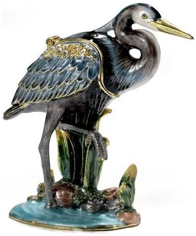 Kubla Crafts Bejeweled Enamel KUB 4056 Blue Heron Box
