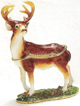 Kubla Crafts Bejeweled Enamel KUB 4066 Buck Deer Box