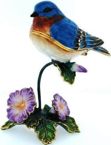 Kubla Crafts Bejeweled Enamel KUB 41-3425 Blue Bird Box