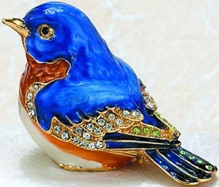 Kubla Crafts Bejeweled Enamel KUB 41-3883 Blue Bird Box