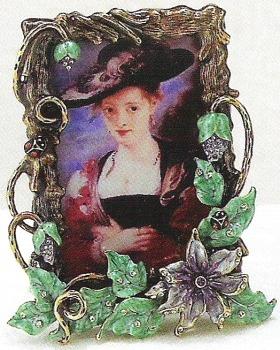 Kubla Crafts Bejeweled Enamel KUB 4113 Flowers Photo Frame