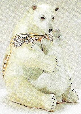 Kubla Crafts Bejeweled Enamel KUB 4124 Polar Bear with Baby Box