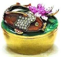 Kubla Crafts Bejeweled Enamel KUB 4133 Jeweled Koi on Large Box