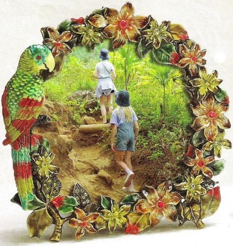 Kubla Crafts Bejeweled Enamel KUB 4135 Jeweled Parrot Photo Frame