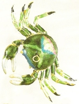 Kubla Crafts Cloisonne KUB 4152SP Cloisonne Crab Green Ornament
