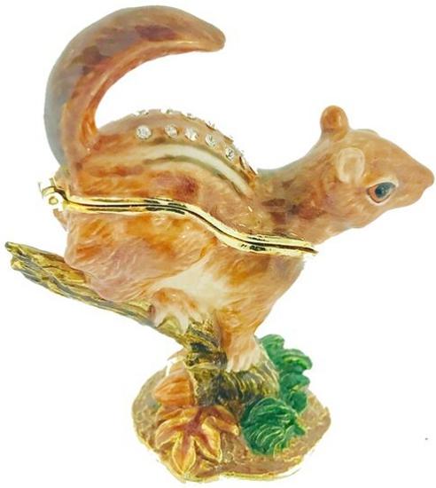 Kubla Crafts Bejeweled Enamel KUB 4183 Chipmunk Box