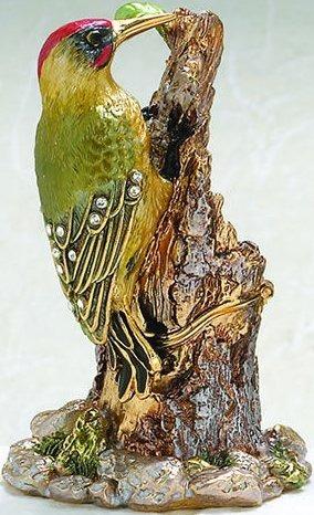 Kubla Crafts Bejeweled Enamel KUB 42-4112 Wood Pecker Box