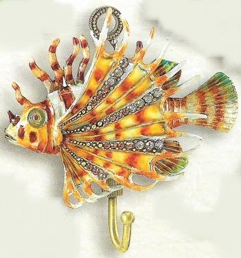 Kubla Crafts Bejeweled Enamel KUB 4275 Lionfish Wall Hook