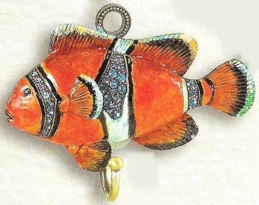 Kubla Crafts Bejeweled Enamel KUB 4277 Clown Fish Wall Hook