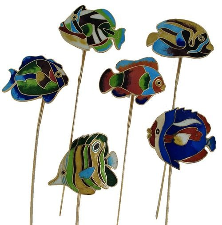 Kubla Crafts Bejeweled Enamel KUB 4300 Bookmark Fish Set of 6