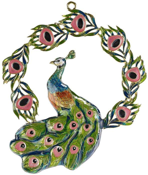Kubla Crafts Bejeweled Enamel KUB 4349 Peacock Enamel Ornament