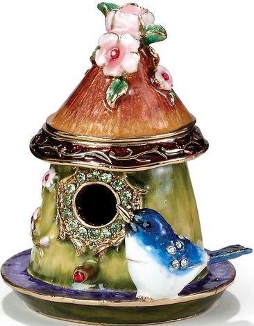 Kubla Crafts Bejeweled Enamel KUB 44-3343 Bluebird House Box
