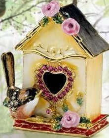 Kubla Crafts Bejeweled Enamel KUB 44-3345 Bird House Box