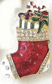 Kubla Crafts Bejeweled Enamel KUB 4500Q Brooch Red Stocking