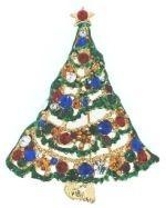 Kubla Crafts Bejeweled Enamel KUB 4500R Large Christmas Tree Brooch