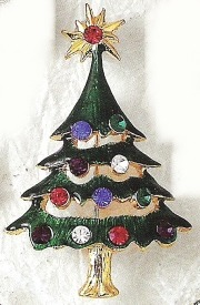 Kubla Crafts Bejeweled Enamel KUB 4500S Christmas Tree Brooch