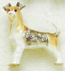 Kubla Crafts Bejeweled Enamel KUB 4506 Fox Terrier Dog Brooch