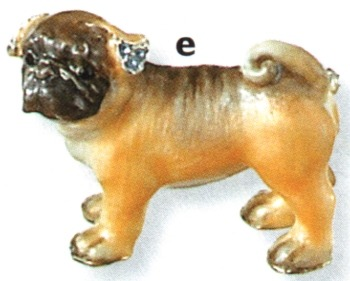 Kubla Crafts Bejeweled Enamel KUB 4515 Pug Dog Brooch